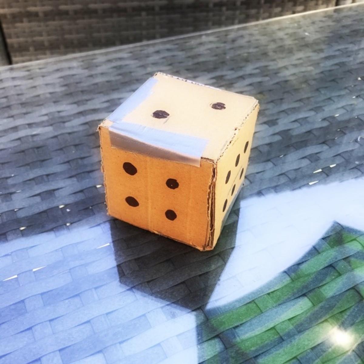 Cardboard dice using household materials