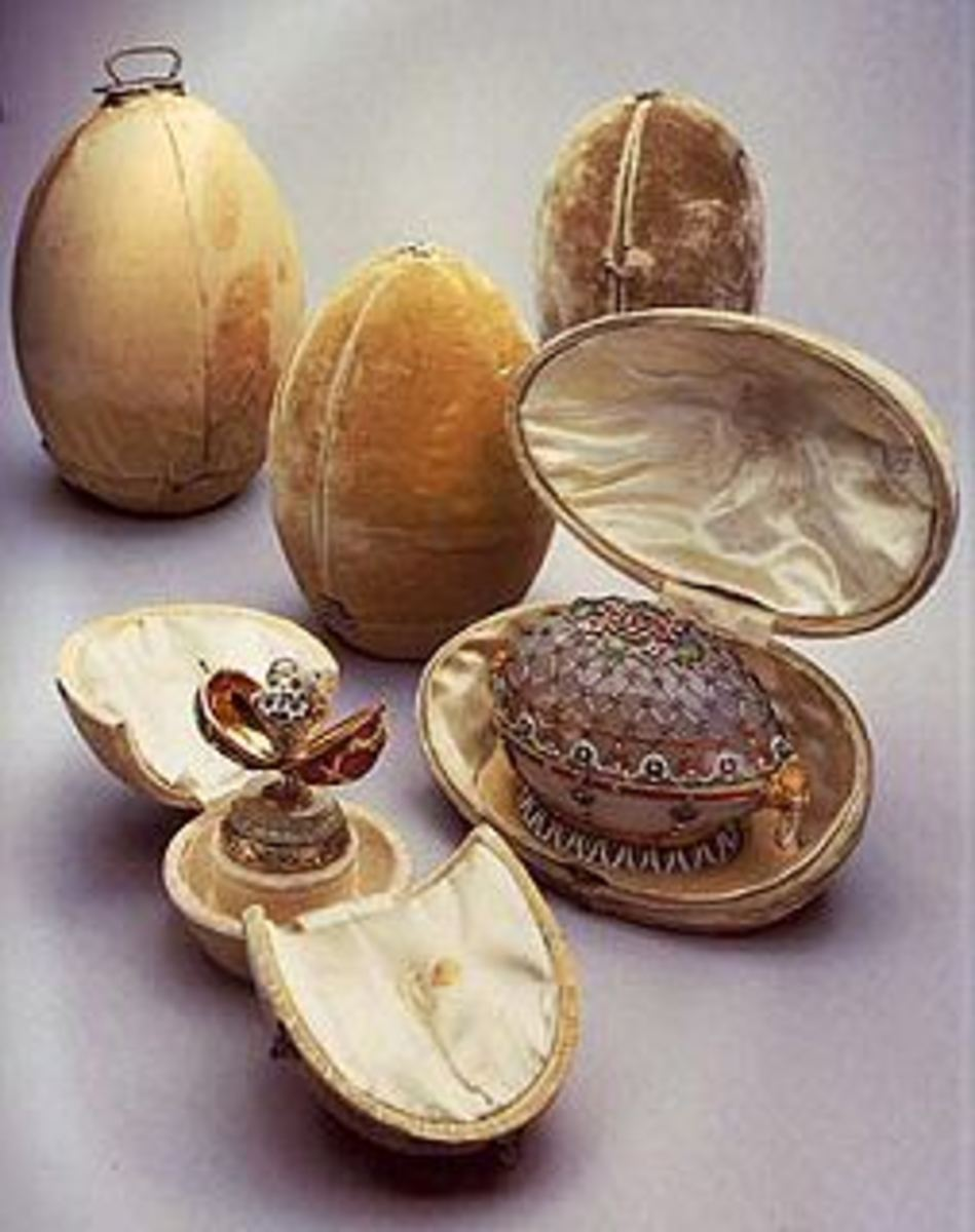The Original Cases containing the Eggs - hand delivered by Carl Faberg - an event everyone waited for including the public.