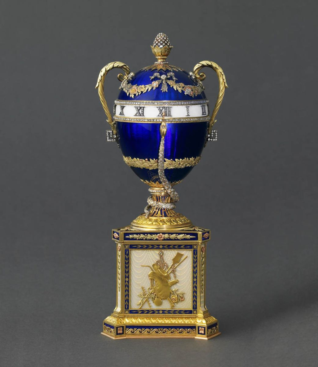 Blue Serpent clock Egg ( The First Egg from Tsar Nicholas to his Mother Maria)  - 1895