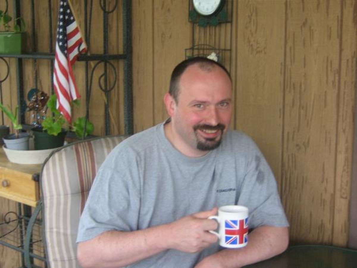K-1 Fiancé Visa process: Relaxing on the porch with a union jack mug of coffee and the stars and stripes in the background.