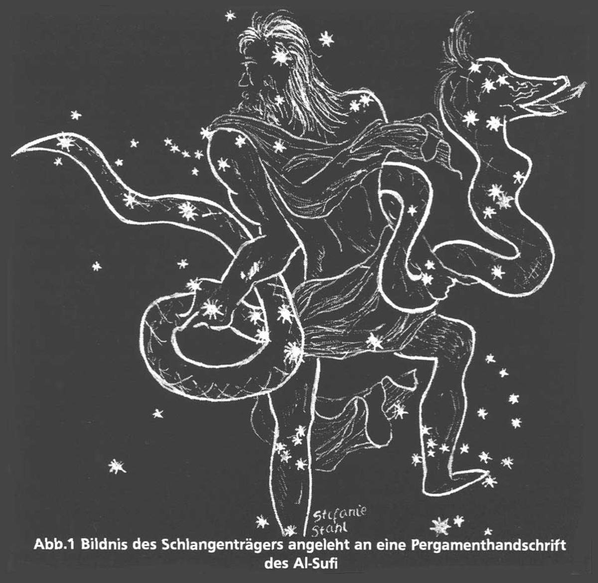 This star map of the constellation Ophiuchus shows the principle stars.