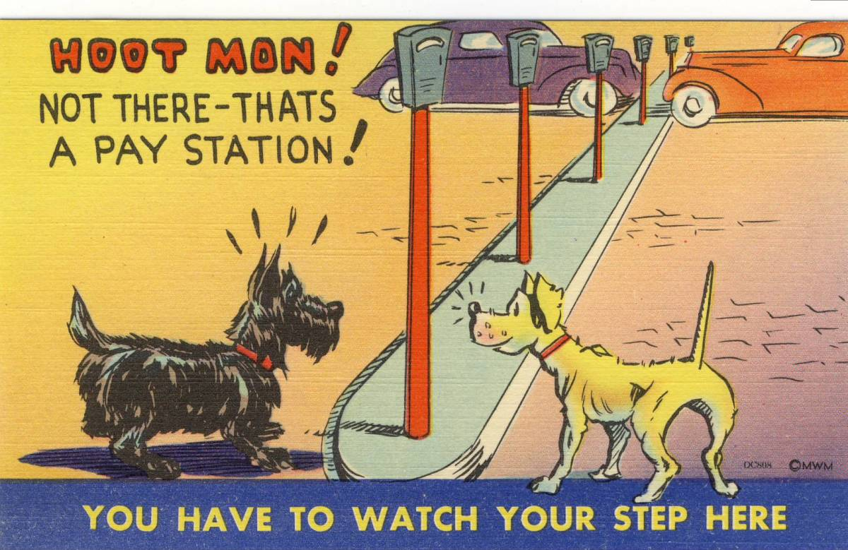 Scotty Dog Comic Postcard, Circa 1940