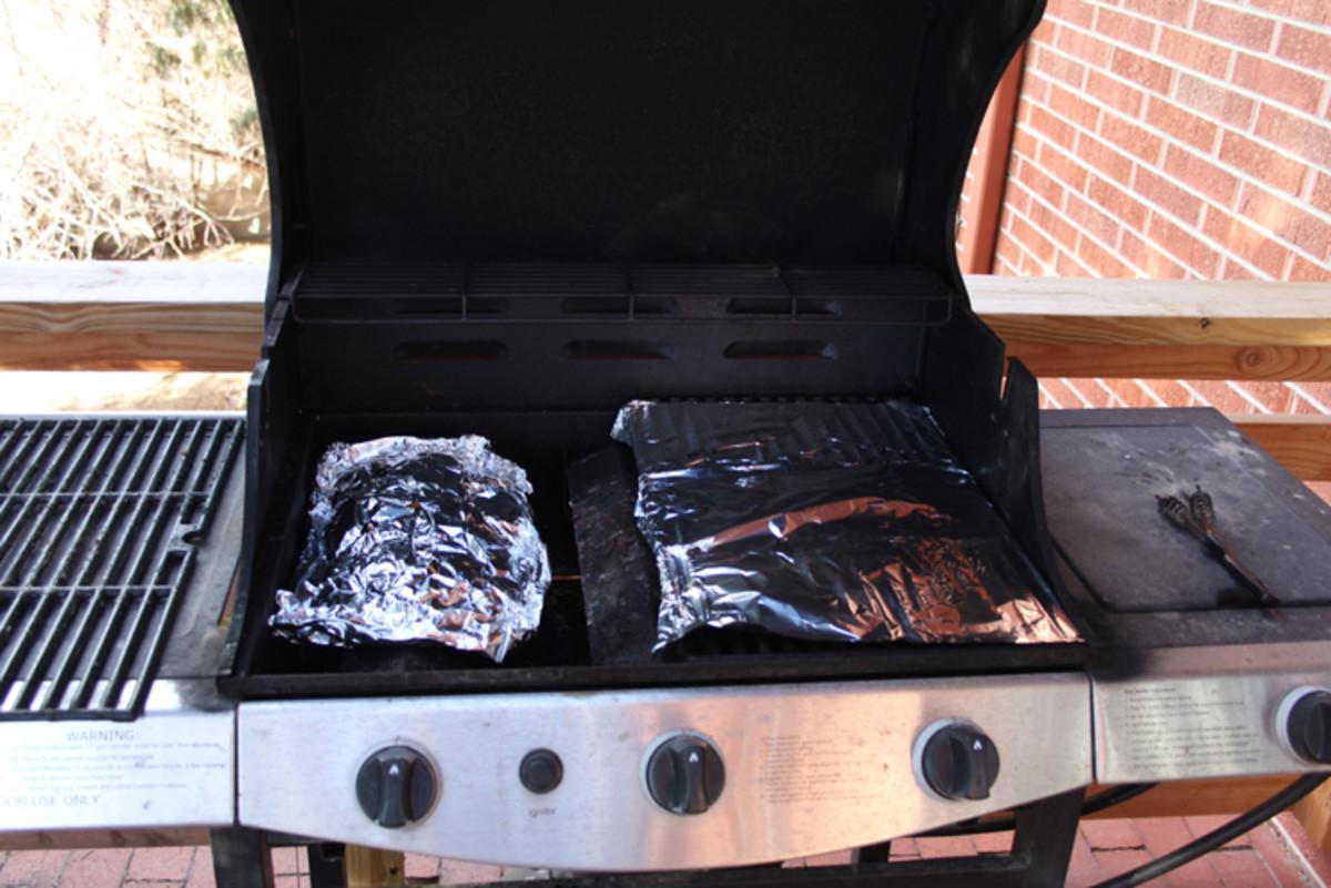Preping a propane grill to smoke salmon