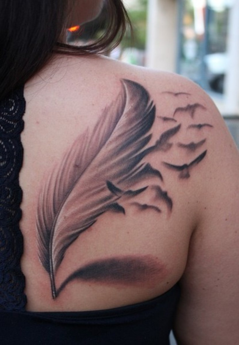 Feather Tattoos on Compelling And Unusual Feather Tattoos