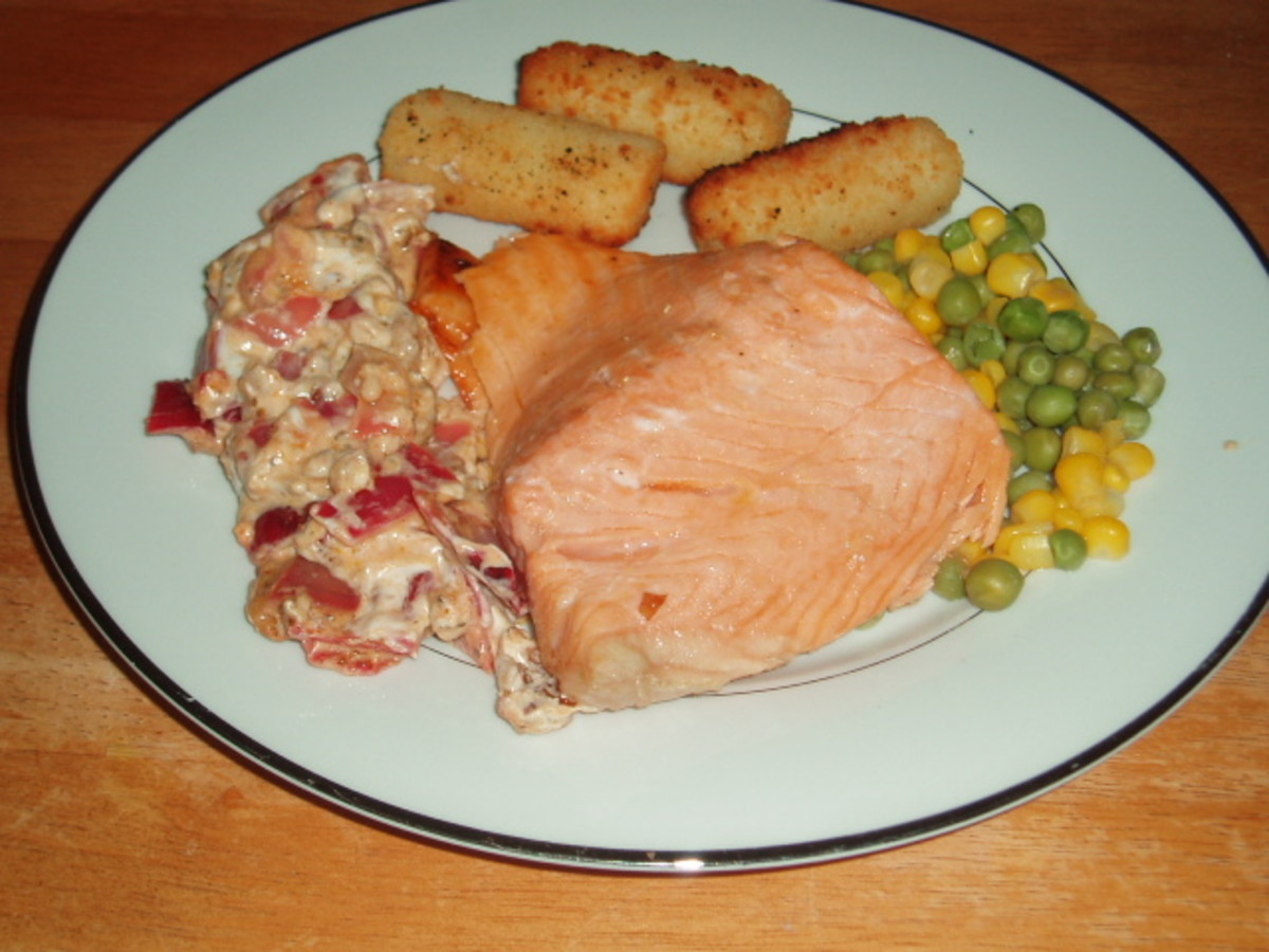 Fresh Salmon with a Pecan, and Walnut, Soft Cheese Sauce, also How To Make Smoked Salmon Cakes.