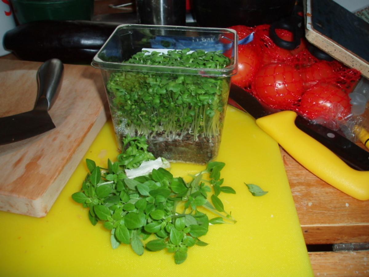 fresh basil and cress