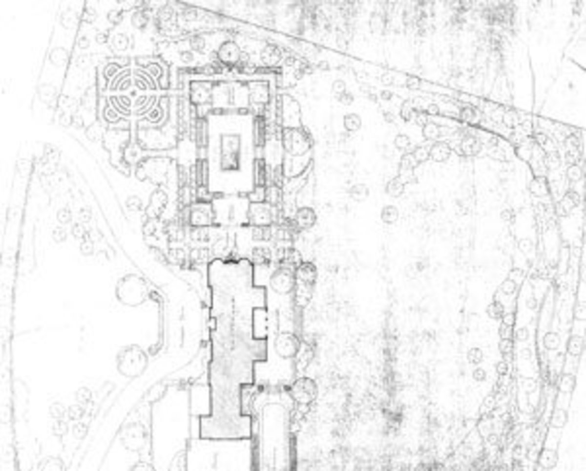 Tissue paper sketch of mansion's landscaping (dated somewhere between 1932 and 1936)