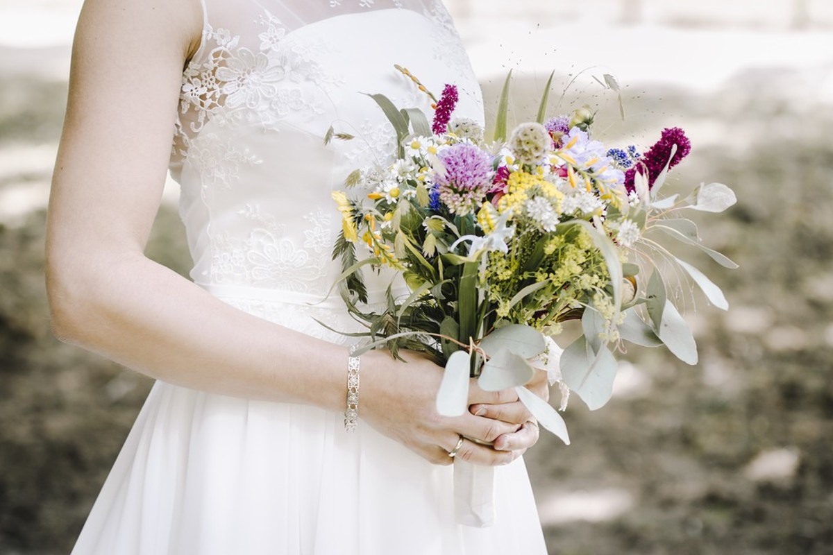 A beautiful example of an herb wedding bouquet.