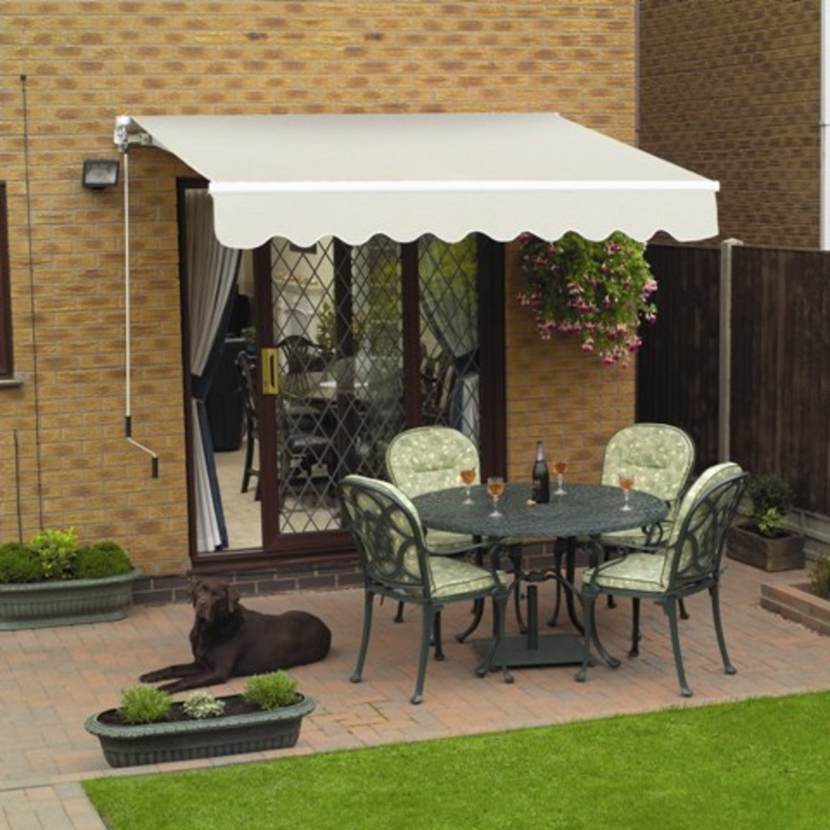 A patio awning, with a polyester cover