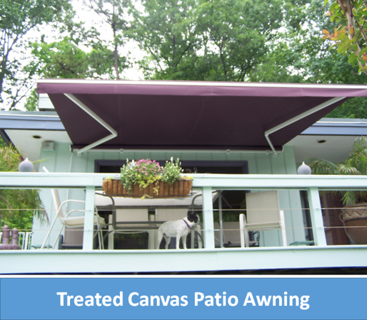 Patio shade - Treated canvas awning. A beautiful colour coordination with the patio