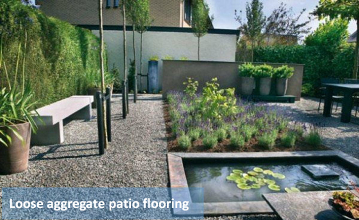 Patio with loose gravel flooring - Gravel and smooth pebbles are popular outdoor flooring materials.