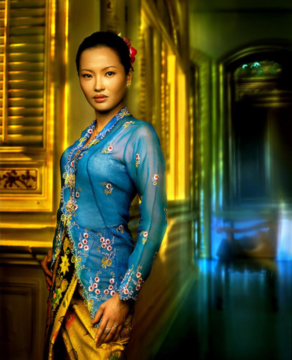 Nyonya wearing kebaya dress