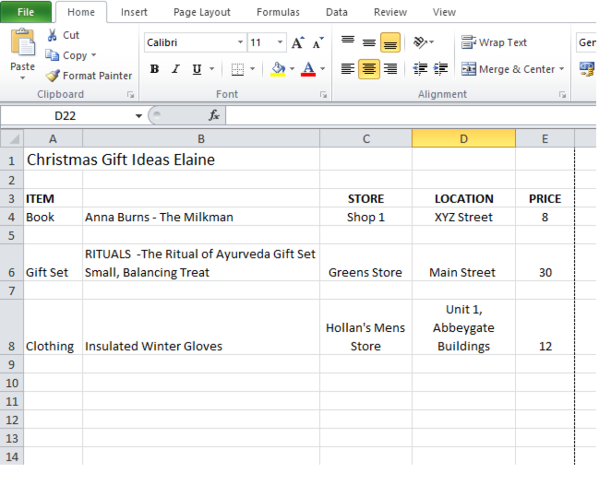 Make a Christmas-shopping list using excel.