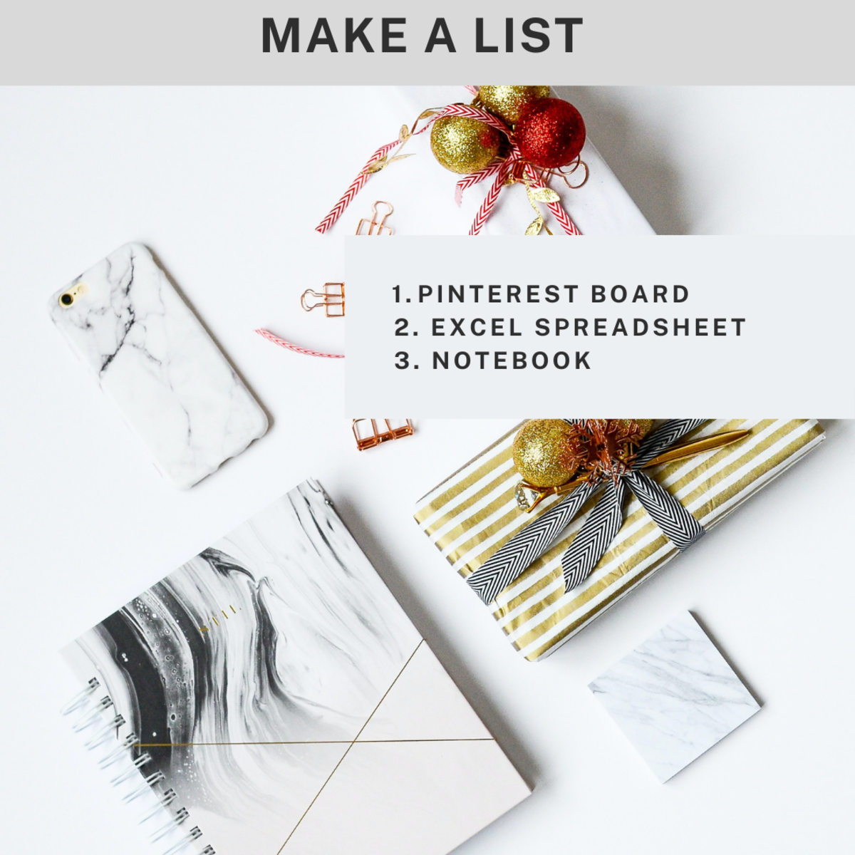 Use Pinterest, Excel, or a notebook to record Christmas gift ideas.