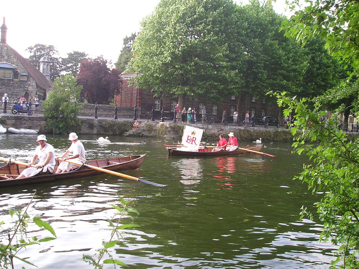 Swan upping is the annual process by which the Queen's uppers take a census of the River Thames' swan population.
