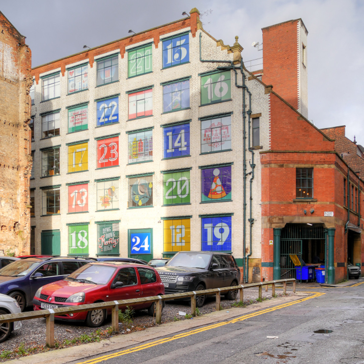 This building in Manchester, UK, turned its windows into a giant advent calendar for December.
