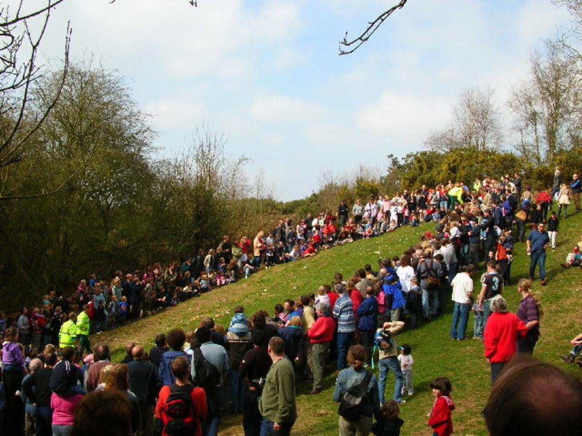 In Oxfordshire, UK, park rangers host an annual Easter egg roll.