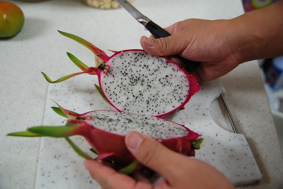 Interior view of dragon fruit.