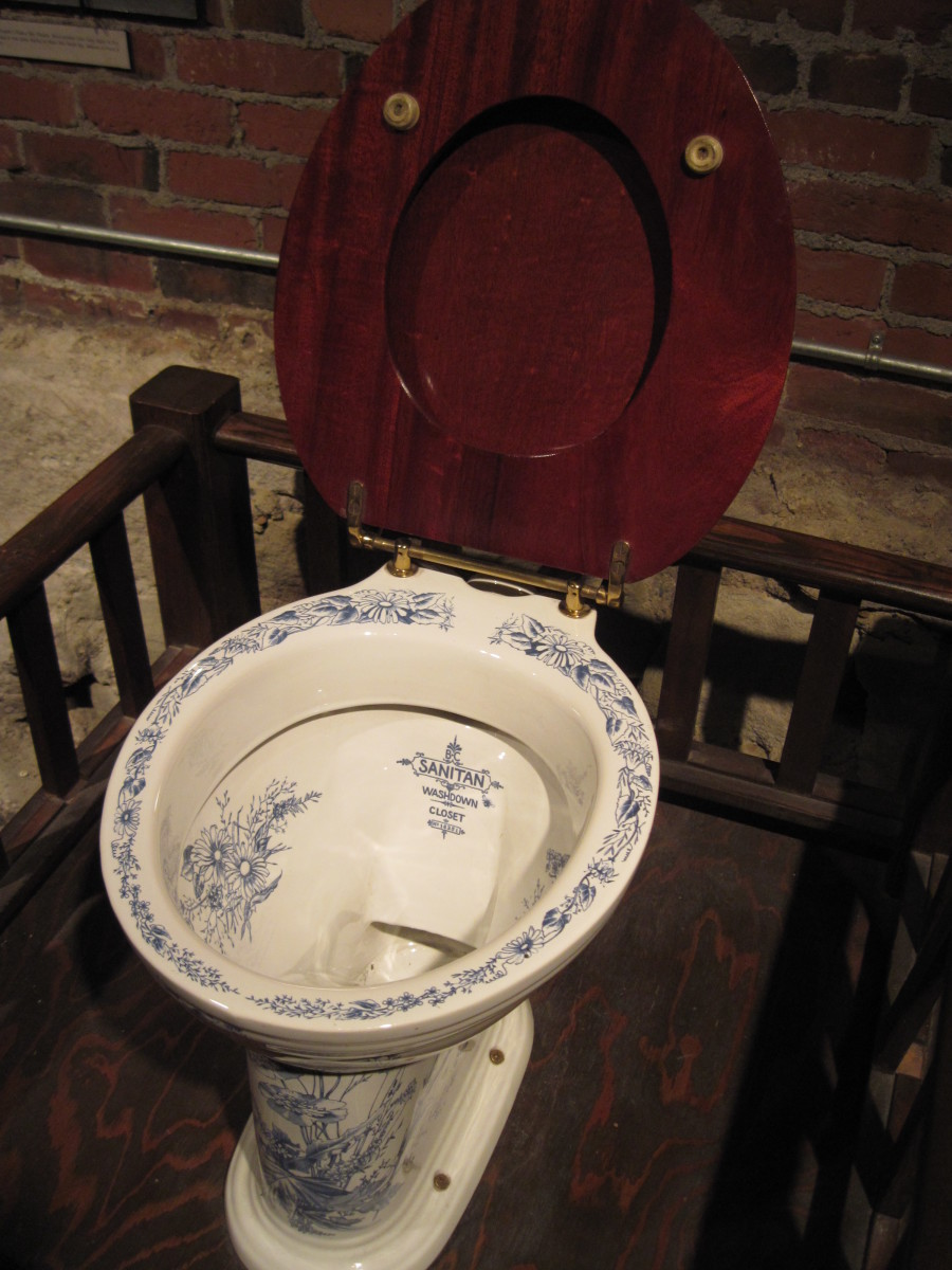 Close-up ofl Thomas Crapper Toilet on Display at Seattle Washington's Underground Seattle