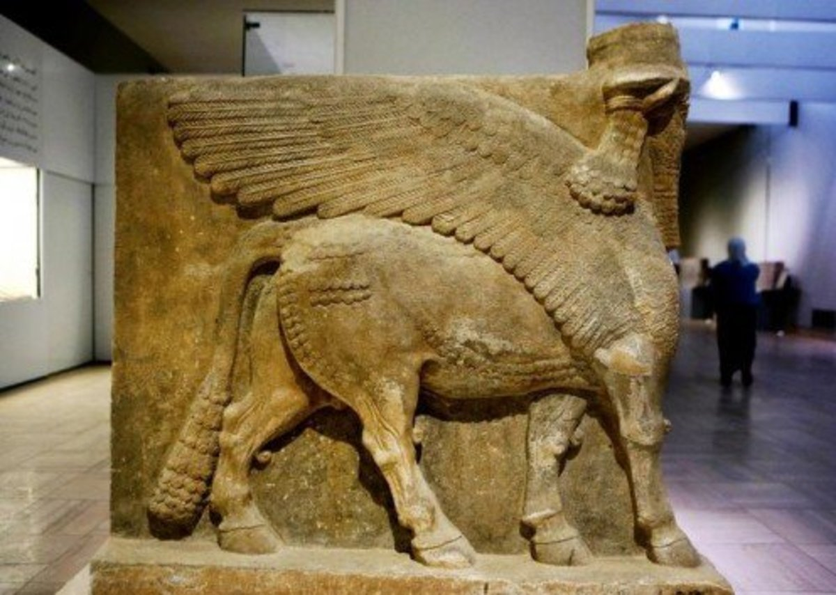 Winged bull deity found at the archaeological site of Nineveh in Iraq