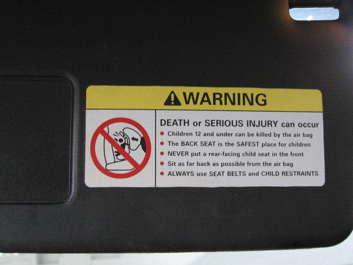 Airbag visor sticker