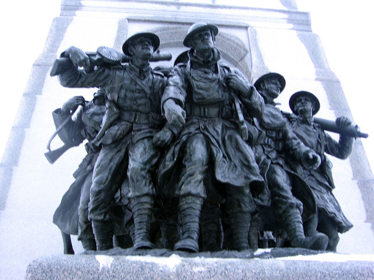 Canadian War Memorial in Ottawa, showing soldiers wearing Puttees