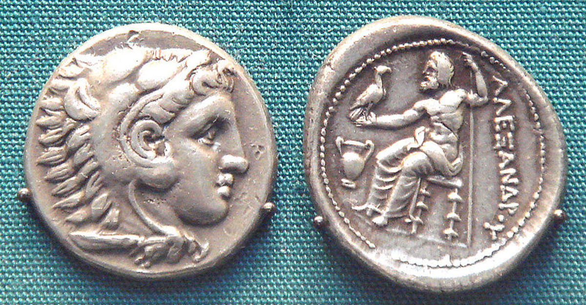 Silver Alexander the Great coin.