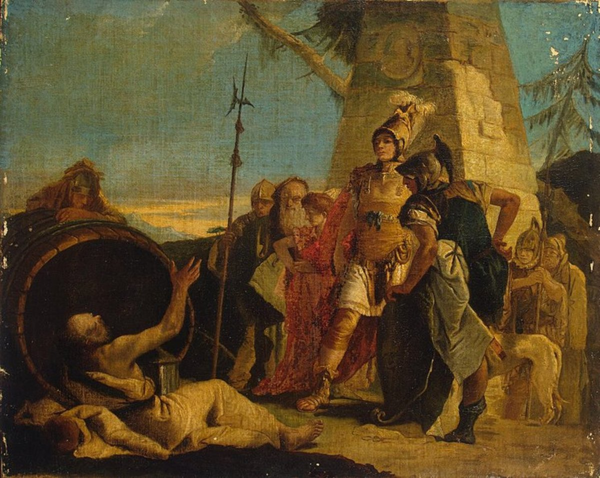 Giovanni Battista Tiepolo's painting of Alexander the Great and Diogenes, painted sometime in the 1700's.  Diogenes the Cynic was one of the few people who mocked Alexander the Great and lived.