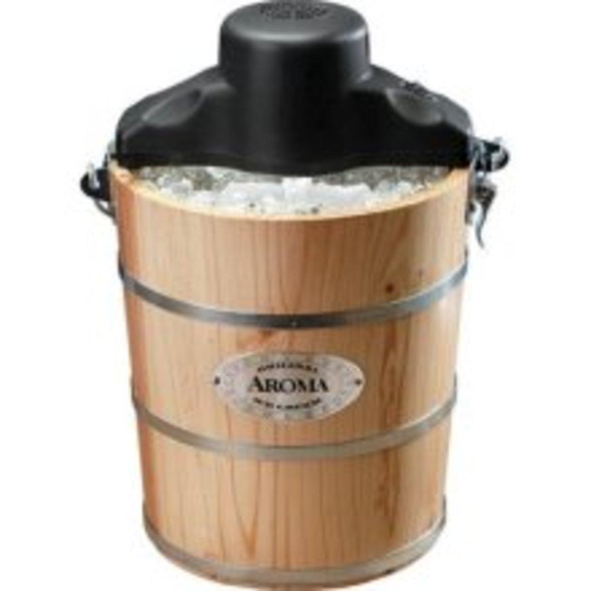 Aroma AIC-204EM 4-Quart Wood Barrel Ice Cream Maker