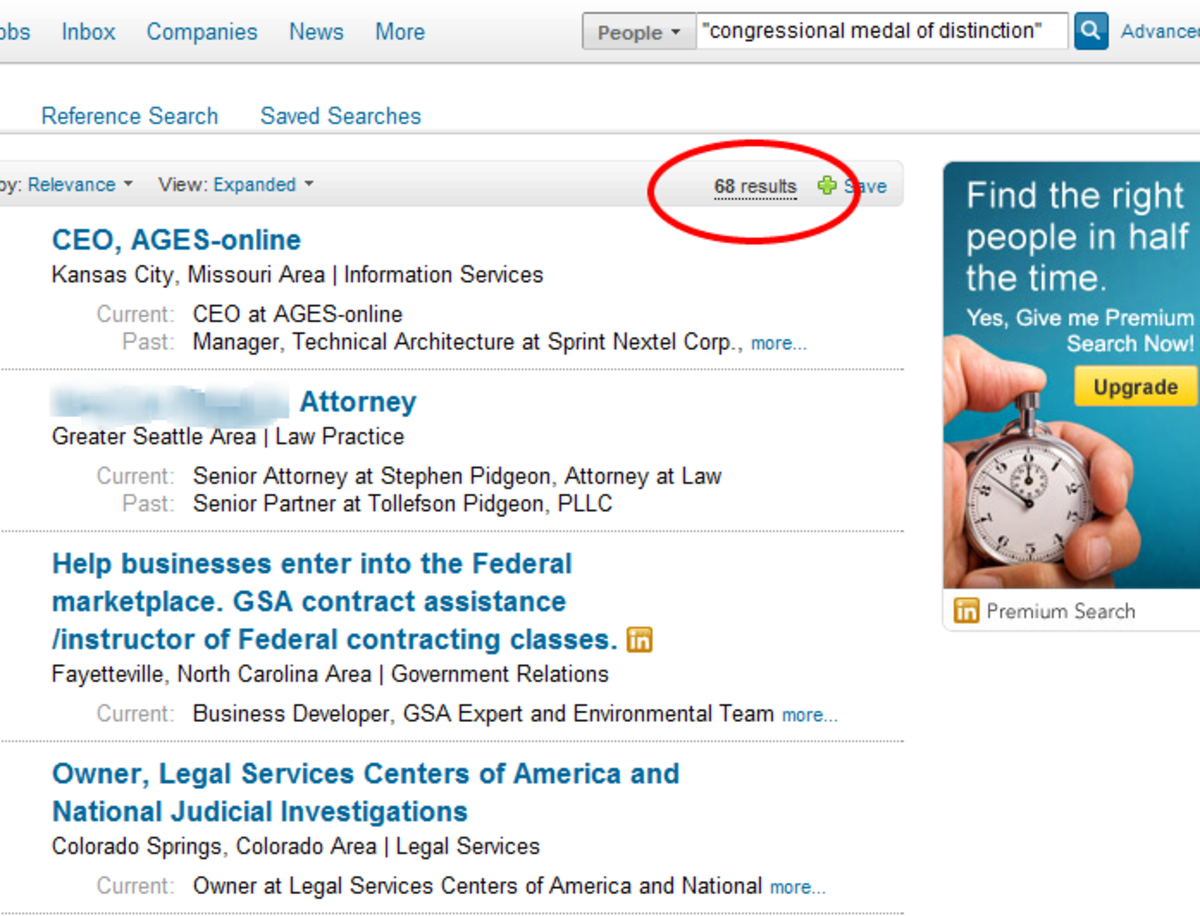 """Search for """"Congressional Medal of Distinction"""" turned up 68 results"""