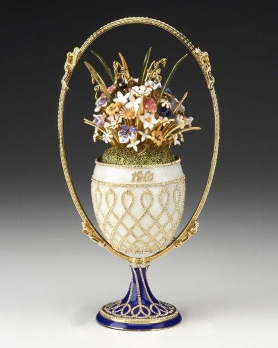 Basket of Flowers Egg (1901)  Note:  Queen Elizabeth II inherited this piece in 1953 from Mary of Teck and it remains in the Royal Collection.