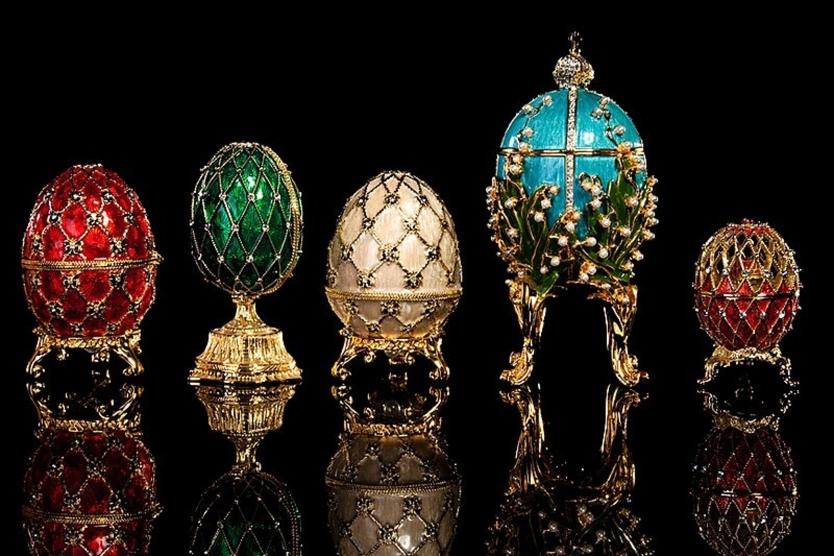 These Faberge' eggs are on display in Saint Petersburg, Russia.