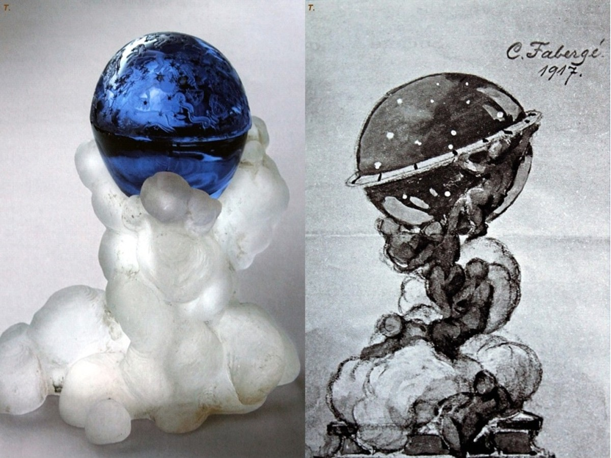 Constellation Egg (1917)  Note:  This egg was never completed because of the Russian Revolution.  The unfinished piece is on the left, and Faberge's original drawing of the planned piece is on the right.