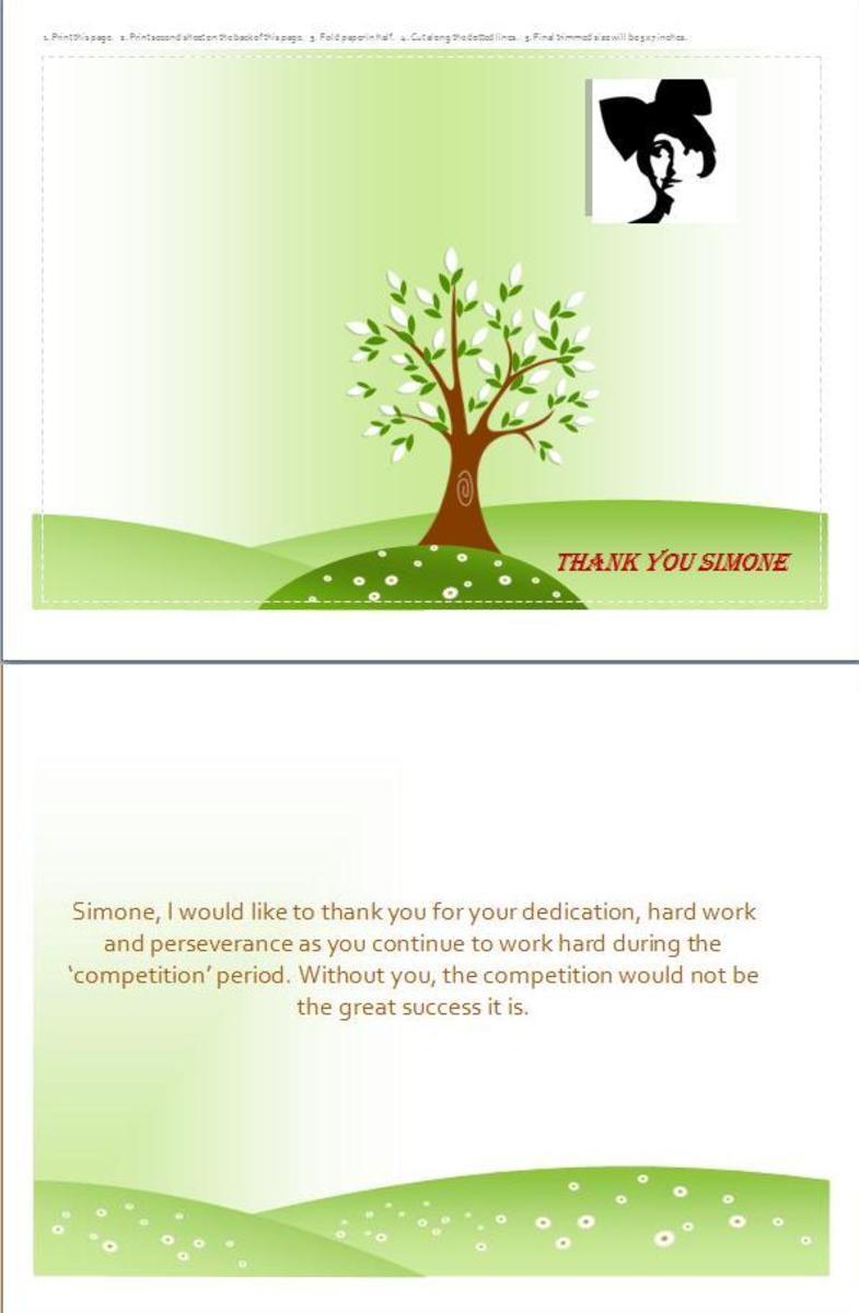 The final greeting  card created using Microsoft Word.