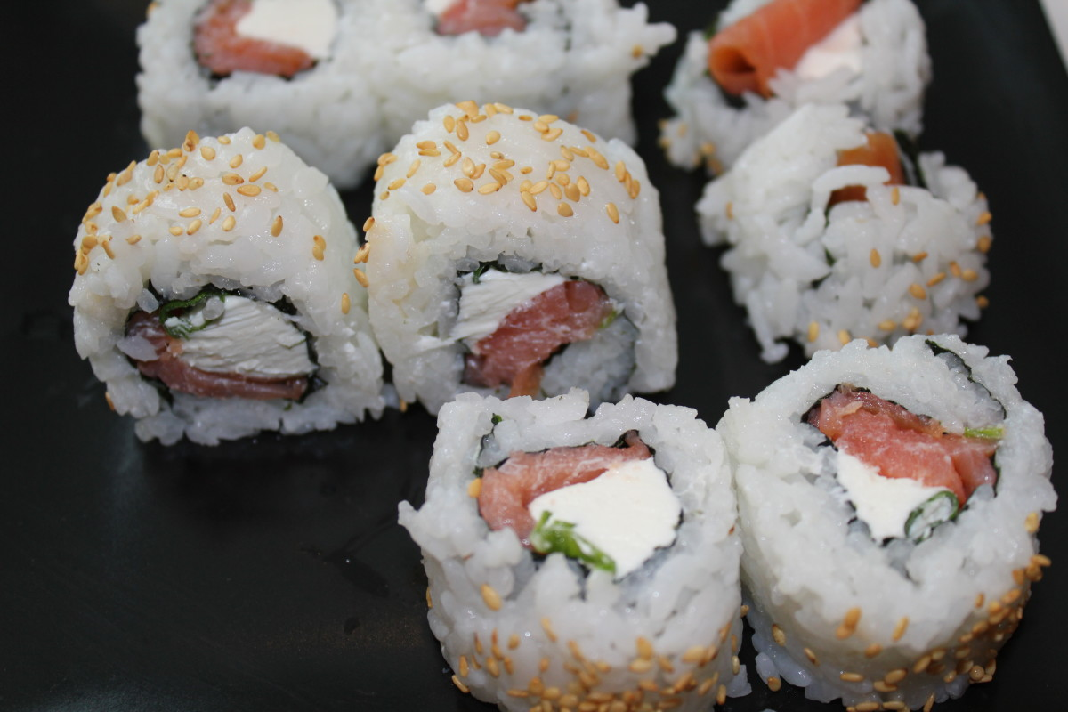 How to make a Salmon Sushi Roll.