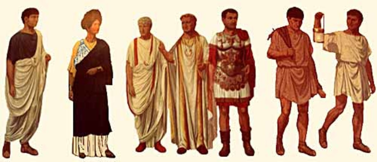 Ancient Romans adorned in silk robes