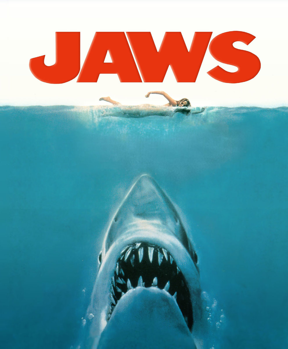 Promotional poster for the film JAWS. The swimmer is unaware of the impending shark attack, but the audience sees the shark.