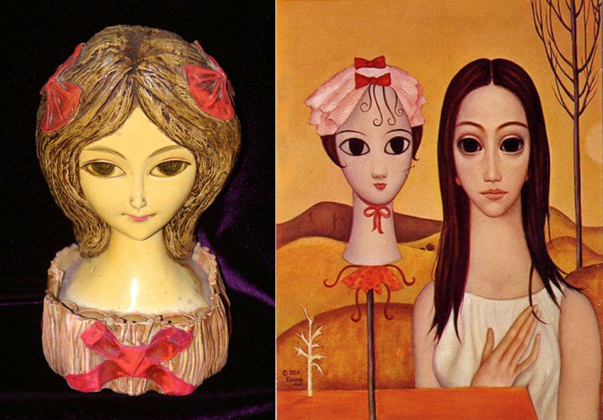 Lipstick holder girl from the '60s and Margaret Keane big-eyed girl. Notice the resemblance?