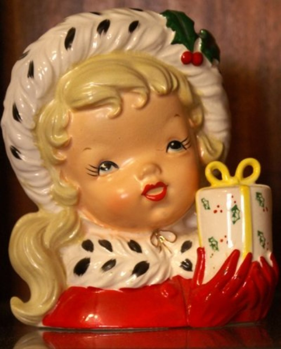 "Napco (CX2348A) 5 3/4"" Christmas Girl Head Vase (dated 1956)"