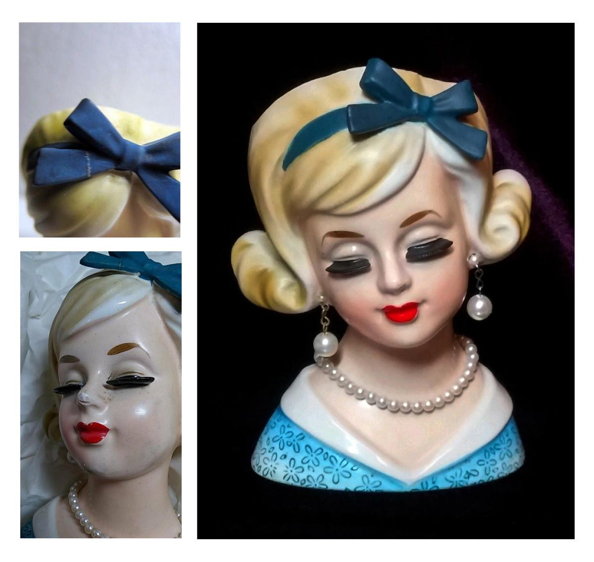 "Enesco ""Necklace Girl"" head vase restored by Tammy Powelson Decker."