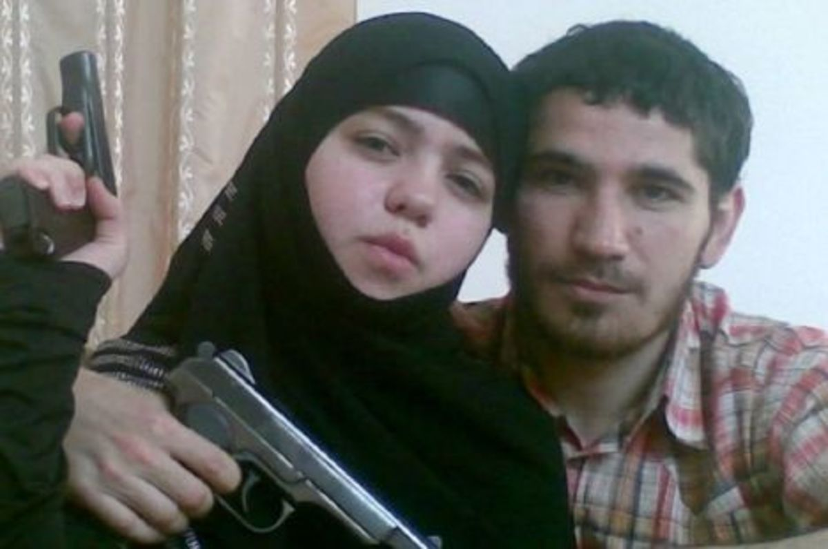 The Chechen  terrorist couple Umalat Magomedov & his 17 year old wife, Djennet Abdurahmanova from Dagestan,  Magomedov was killed by Russian Elite Forces in Dec 2009.  His young bride & another female terrorist died in a suicide bombing in March 2010