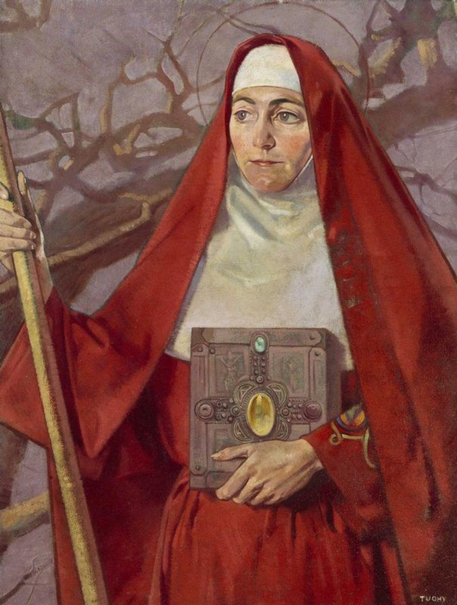 Painting of Brigid, in her saint form, by Patrick Joseph Tuohy (HughLane.ie) [Public domain], via Wikimedia Commons