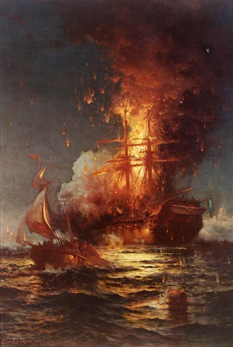 The burning frigate Philadelphia in the harbor of Tripoli, February 16, 1804, by Edward Moran, painted 1897.