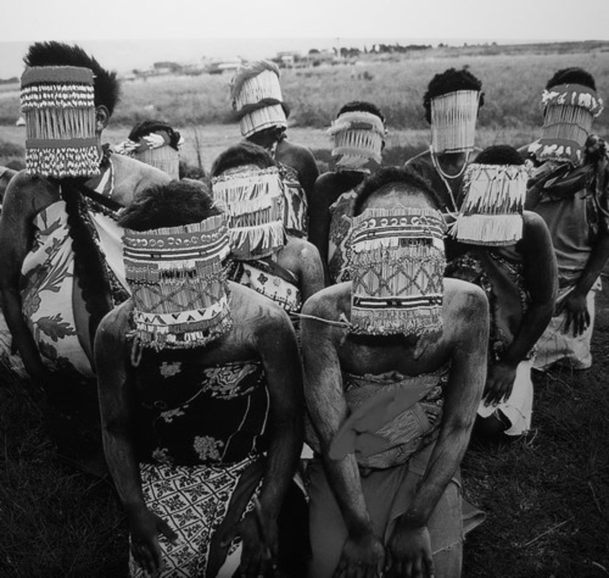 """Sotho girls' initiation known as """"bale"""" shown wearing masks and goatskin skits"""