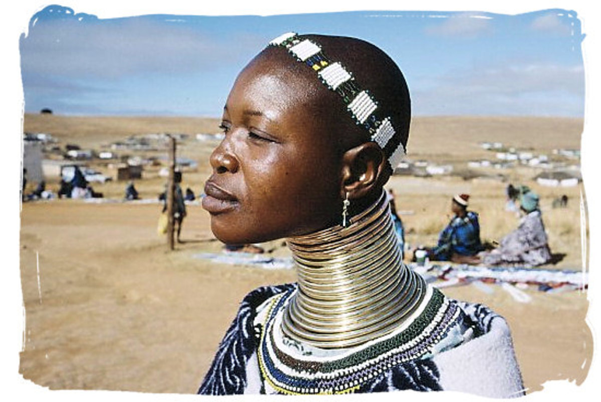 A ndebele Woman in full cultural Regalia