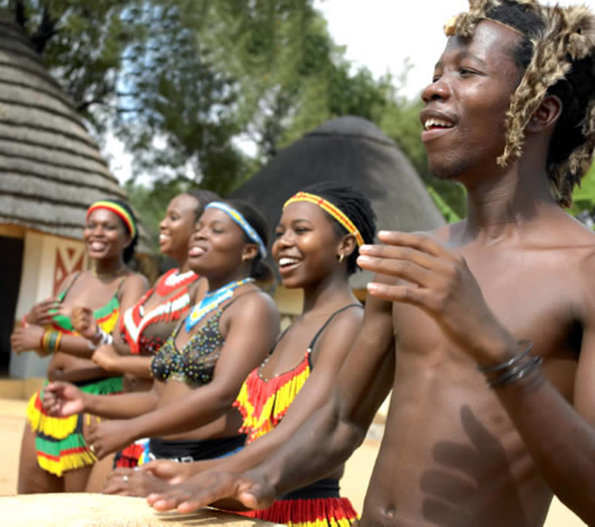 Within Motseng(Home) the varied cultures share their history, customs and tradition with guests by means of song, praise, stories, with poets and narrators of their cultural history present and the meaning of it all for the Peoples of South Africa