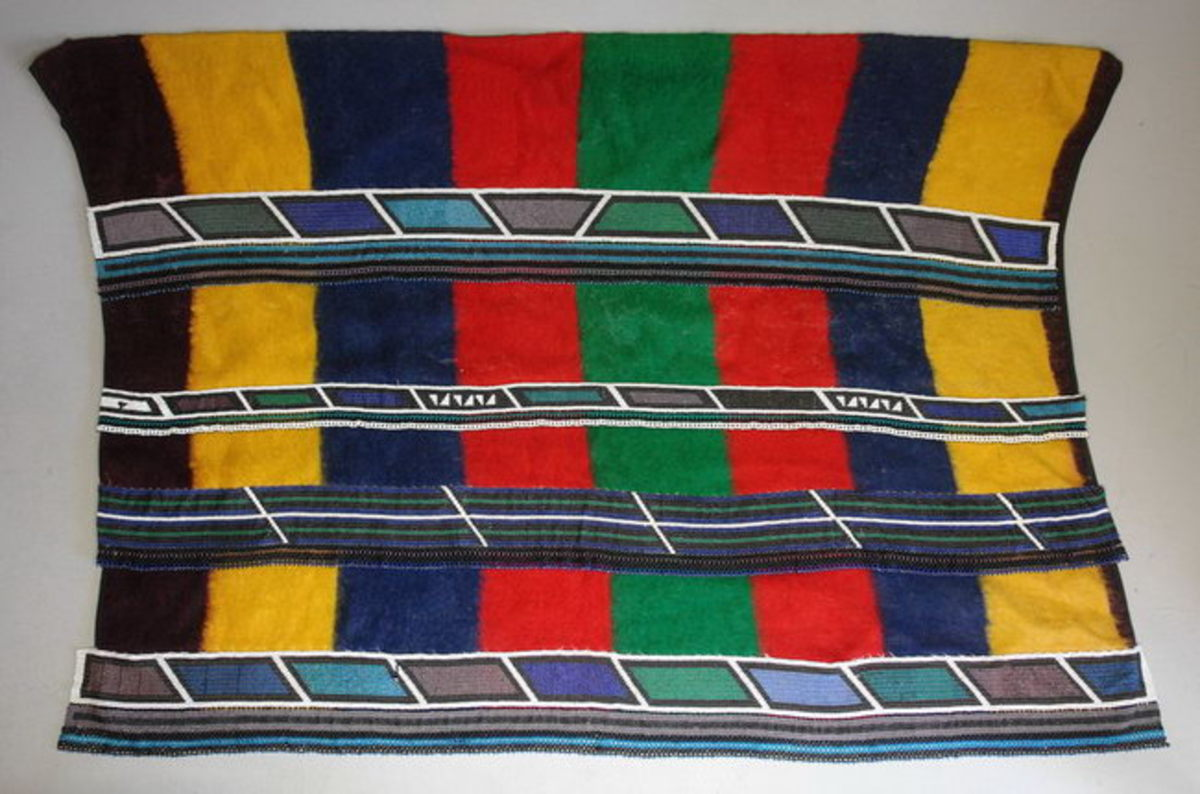 "Beaded Nebele blanket ccaleed ""Irari"" or ""Nuga"" or Ngurara. these blankets are worn by married Ndebele women only"