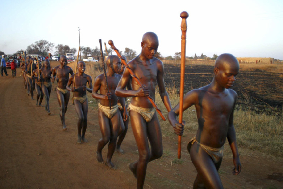 Young Ndebele men have just finished their initiation stint wherein they were interned for two months and learning the responsibilities of a man