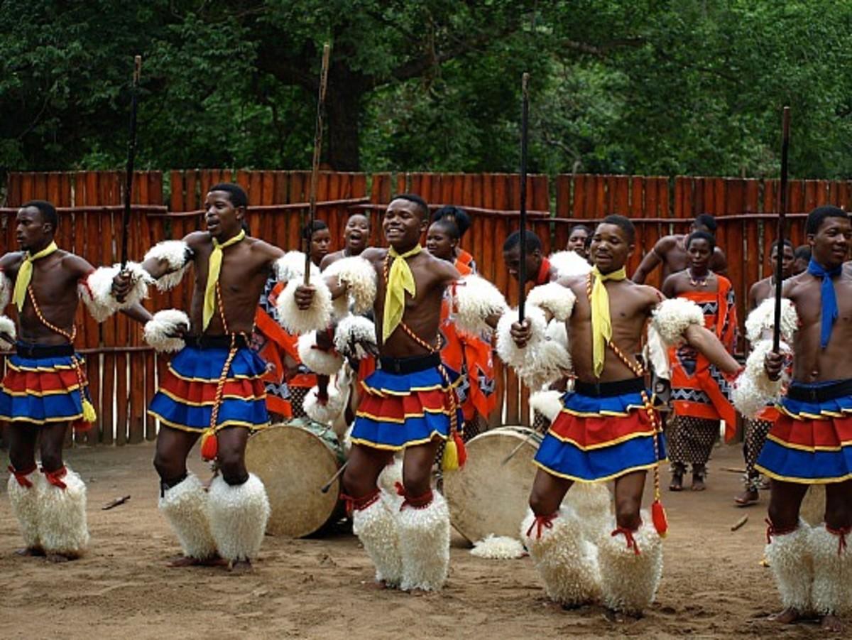 Swzi  male Dancers on Traditional Wear doing a Customary Dance