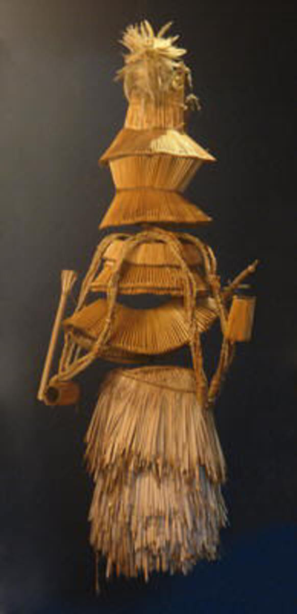 The disguise for the Venda initiates is made up of a series of grass mats wrapped around them; see picture below
